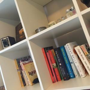 My de-cluttered bookshelf.
