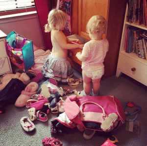 "The girls ""helped"" declutter their shoe drawers."